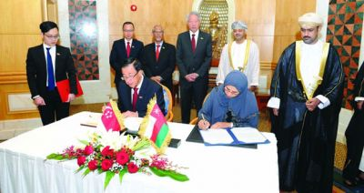 Sultanate, Singapore Sign MoU on Environment, Vocational Training